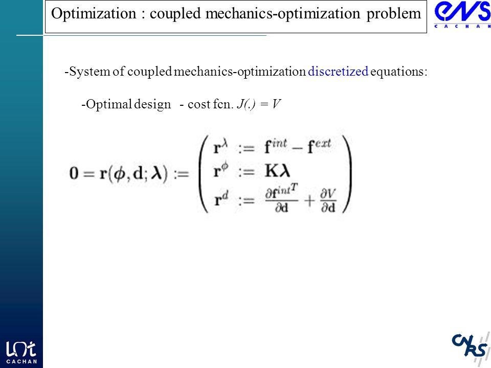 Optimization : coupled mechanics-optimization problem -System of coupled mechanics-optimization discretized equations: -Optimal design - cost fcn.
