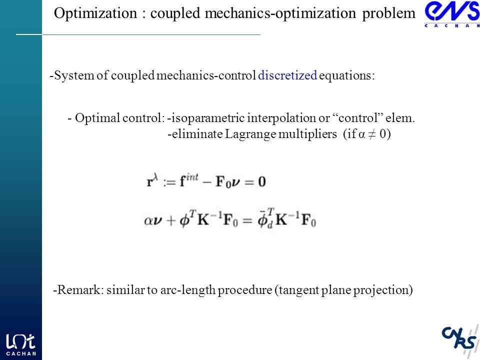 Optimization : coupled mechanics-optimization problem - Optimal control: -isoparametric interpolation or control elem.