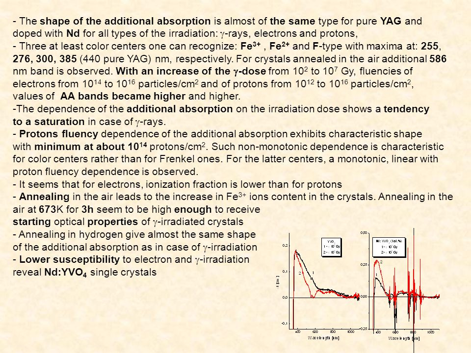 - All forms of the irradiations: exposure to 60 Co gamma rays, over threshold electrons (1 MeV) and high energy (20 MeV) protons and annealing in hydrogen create almost the same damage centers which reduce optical output by absorbing of laser emission.