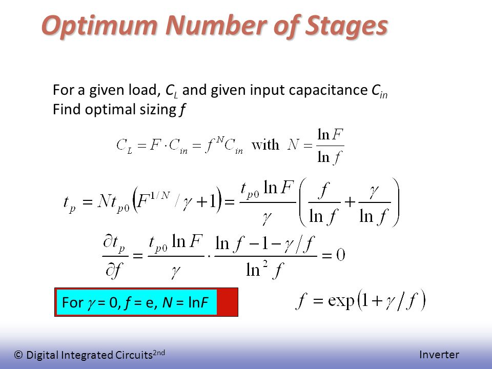 © Digital Integrated Circuits 2nd Inverter Optimum Number of Stages For a given load, C L and given input capacitance C in Find optimal sizing f For  = 0, f = e, N = lnF