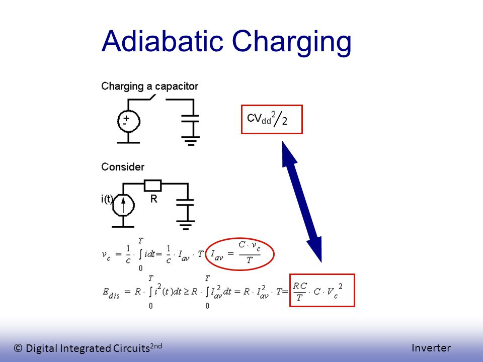 © Digital Integrated Circuits 2nd Inverter Adiabatic Charging 2 2 2