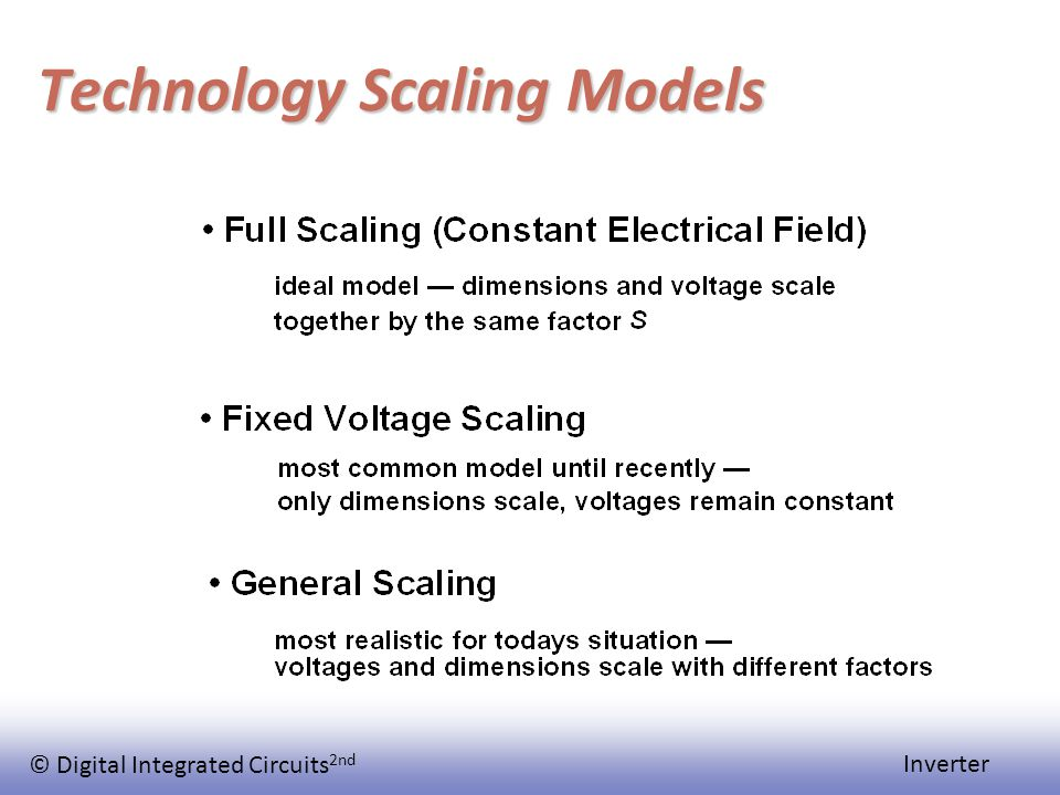 © Digital Integrated Circuits 2nd Inverter Technology Scaling Models