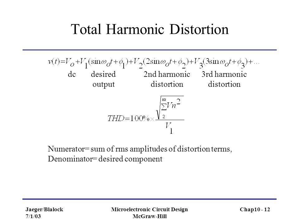 Jaeger/Blalock 7/1/03 Microelectronic Circuit Design McGraw-Hill Total Harmonic Distortion dcdesired output 2nd harmonic distortion 3rd harmonic disto