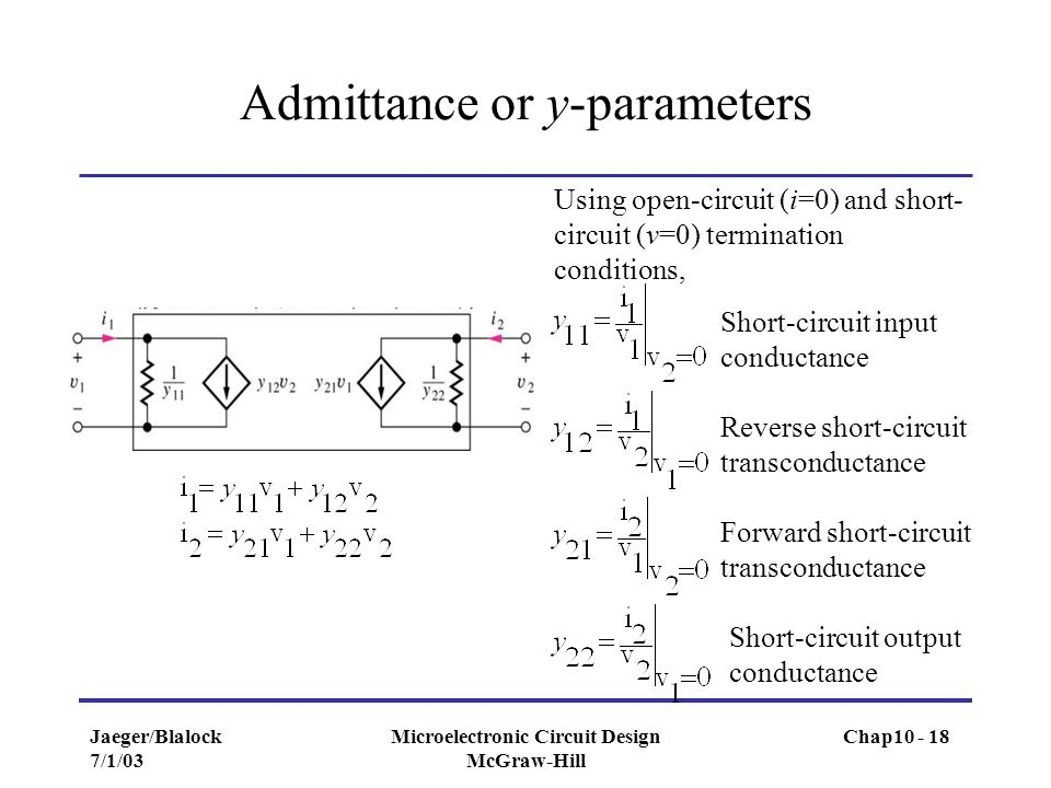 Jaeger/Blalock 7/1/03 Microelectronic Circuit Design McGraw-Hill Admittance or y-parameters Using open-circuit (i=0) and short- circuit (v=0) terminat