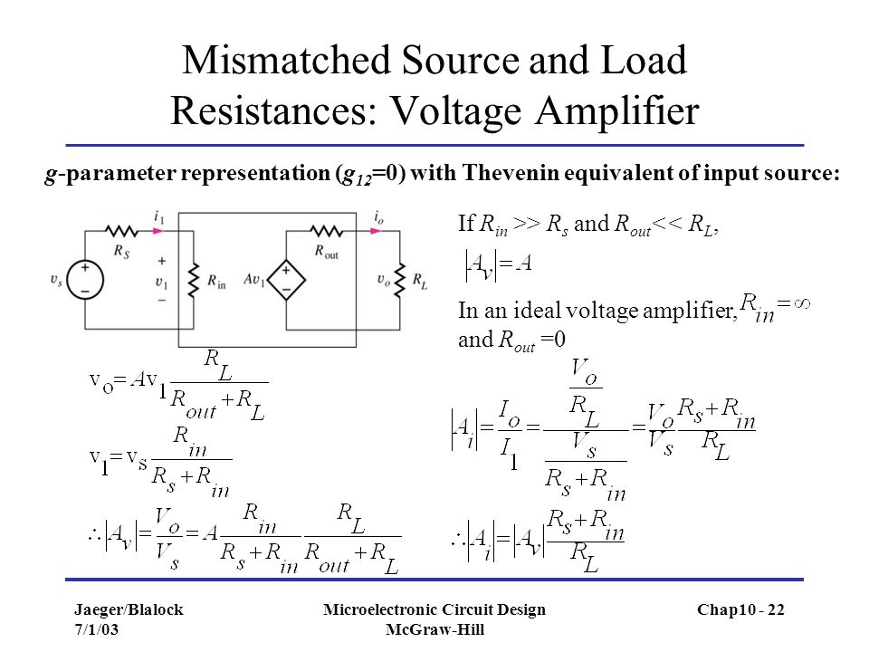 Jaeger/Blalock 7/1/03 Microelectronic Circuit Design McGraw-Hill Mismatched Source and Load Resistances: Voltage Amplifier If R in >> R s and R out <<