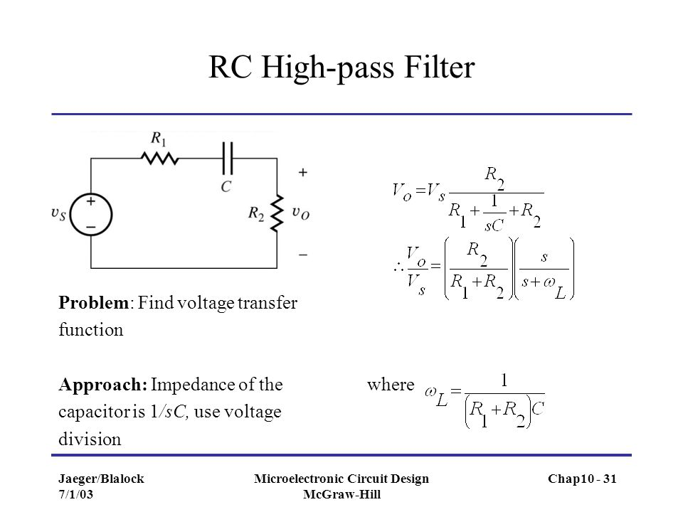 Jaeger/Blalock 7/1/03 Microelectronic Circuit Design McGraw-Hill RC High-pass Filter Problem: Find voltage transfer function Approach: Impedance of th