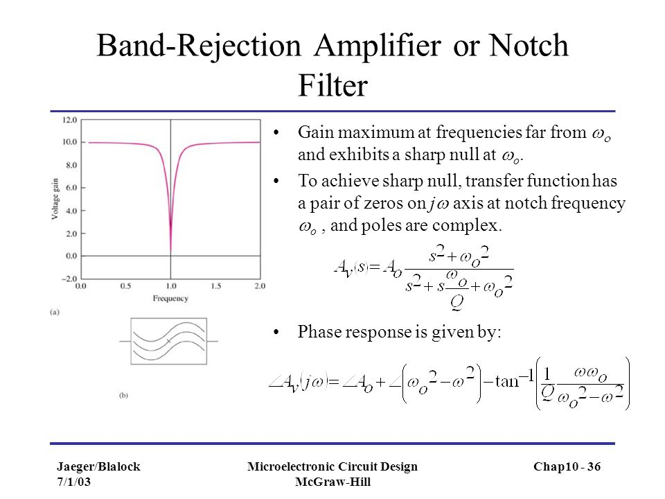 Jaeger/Blalock 7/1/03 Microelectronic Circuit Design McGraw-Hill Band-Rejection Amplifier or Notch Filter Gain maximum at frequencies far from   and