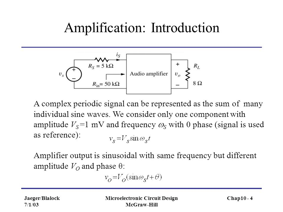 Jaeger/Blalock 7/1/03 Microelectronic Circuit Design McGraw-Hill Amplification: Introduction A complex periodic signal can be represented as the sum o