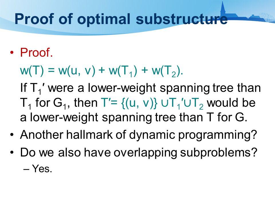 Proof of optimal substructure Proof. w(T) = w(u, v) + w(T 1 ) + w(T 2 ).