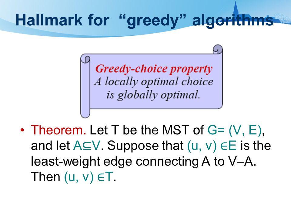 Hallmark for greedy algorithms Theorem. Let T be the MST of G= (V, E), and let A ⊆ V.