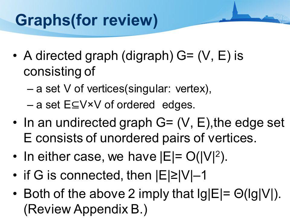 Graphs(for review) A directed graph (digraph) G= (V, E) is consisting of –a set V of vertices(singular: vertex), –a set E ⊆ V×V of ordered edges.
