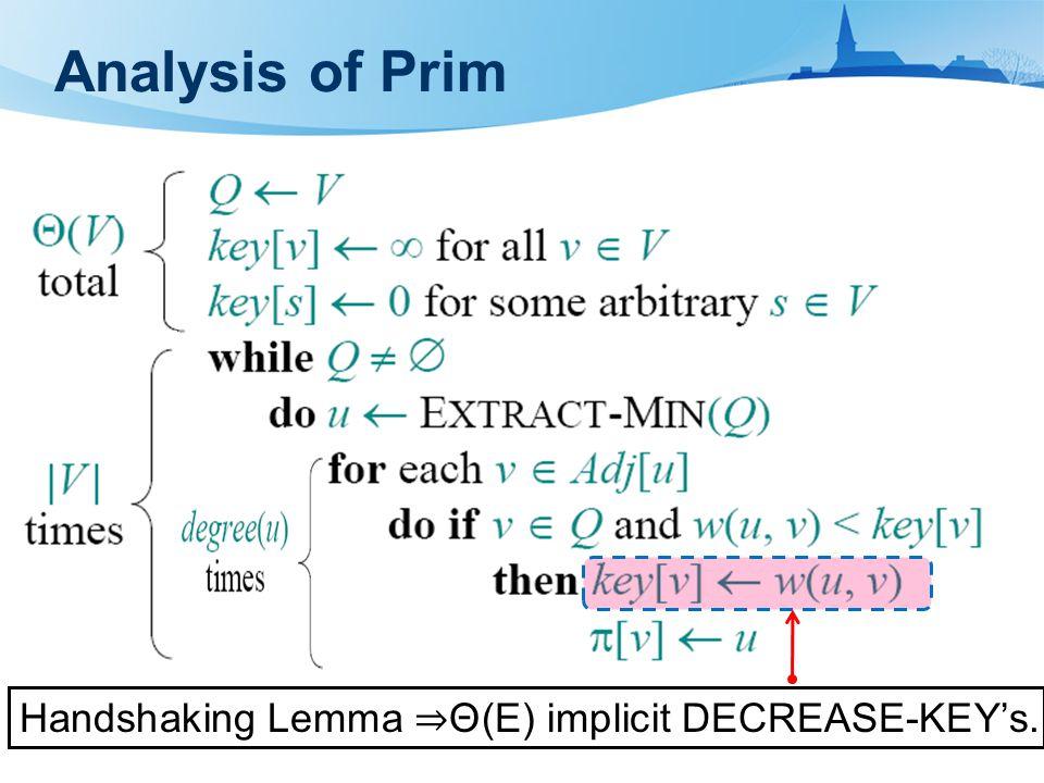 Handshaking Lemma ⇒ Θ(E) implicit DECREASE-KEY's.