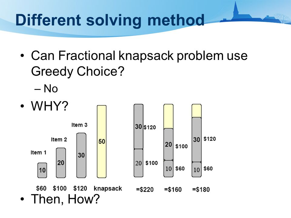 Can Fractional knapsack problem use Greedy Choice –No WHY Then, How Different solving method