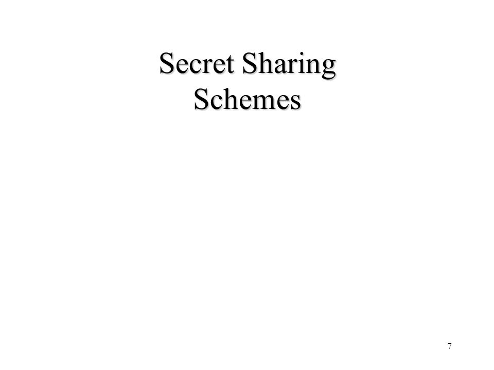 8 Shamir's Secret Sharing Scheme (1979) Key Generation –Select a polynomial f(x)=K+a,x … +a t-1 x t-1 over Zp where P is large prime –Distribution to participant P i share f(i) for i=1, …, n Key Recovery –Any t participants can recover key K using their shares by lagrange interpolation This is a perfect t-out-of-n threshold scheme