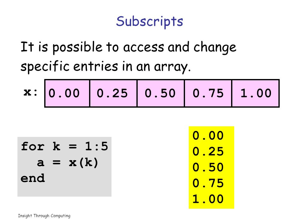 Insight Through Computing Subscripts It is possible to access and change specific entries in an array.