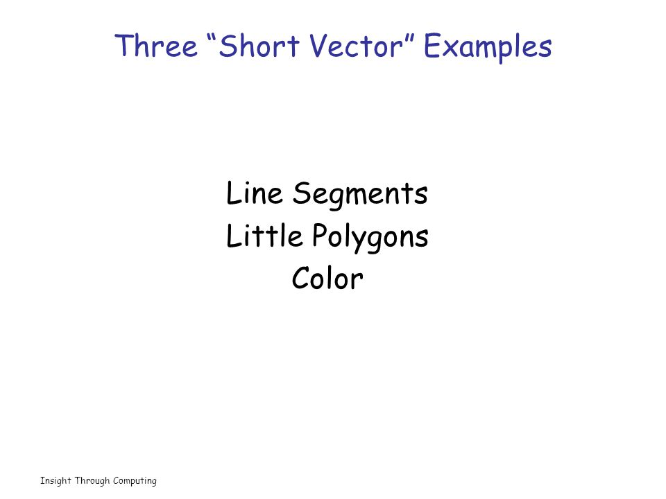 Insight Through Computing Three Short Vector Examples Line Segments Little Polygons Color