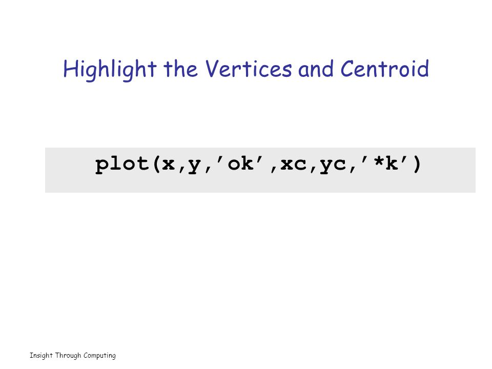 Insight Through Computing Highlight the Vertices and Centroid plot(x,y,'ok',xc,yc,'*k')