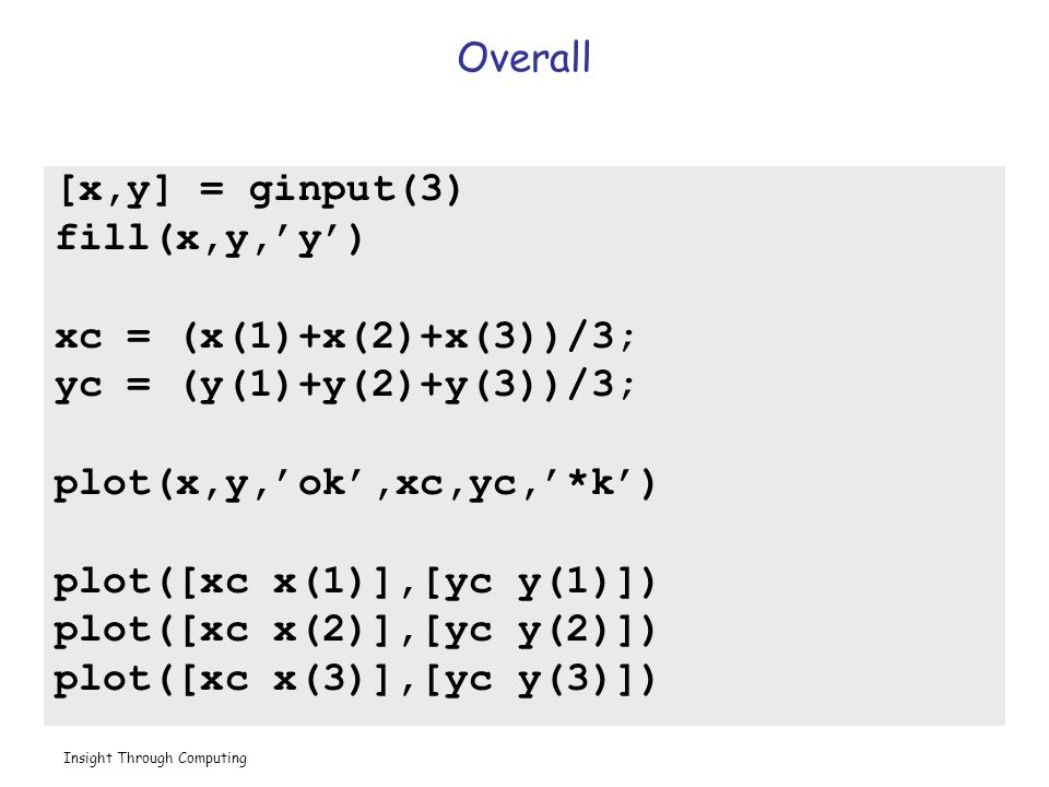 Insight Through Computing Overall [x,y] = ginput(3) fill(x,y,'y') xc = (x(1)+x(2)+x(3))/3; yc = (y(1)+y(2)+y(3))/3; plot(x,y,'ok',xc,yc,'*k') plot([xc x(1)],[yc y(1)]) plot([xc x(2)],[yc y(2)]) plot([xc x(3)],[yc y(3)])