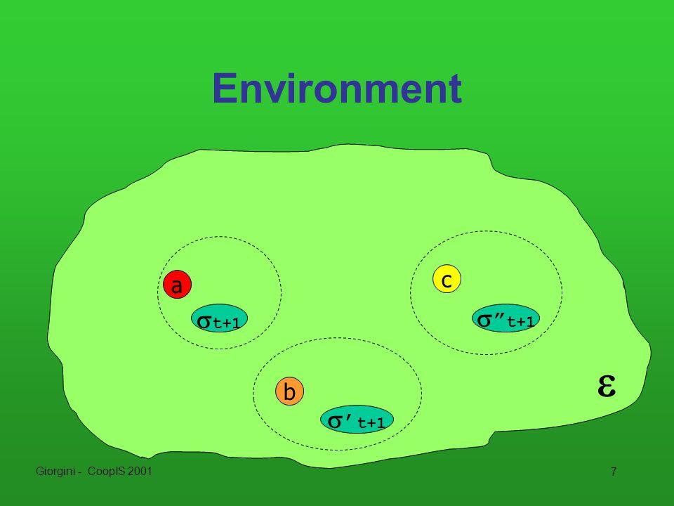 Giorgini - CoopIS 2001 7 Environment a c b  t+1  t+1  ' t+1 
