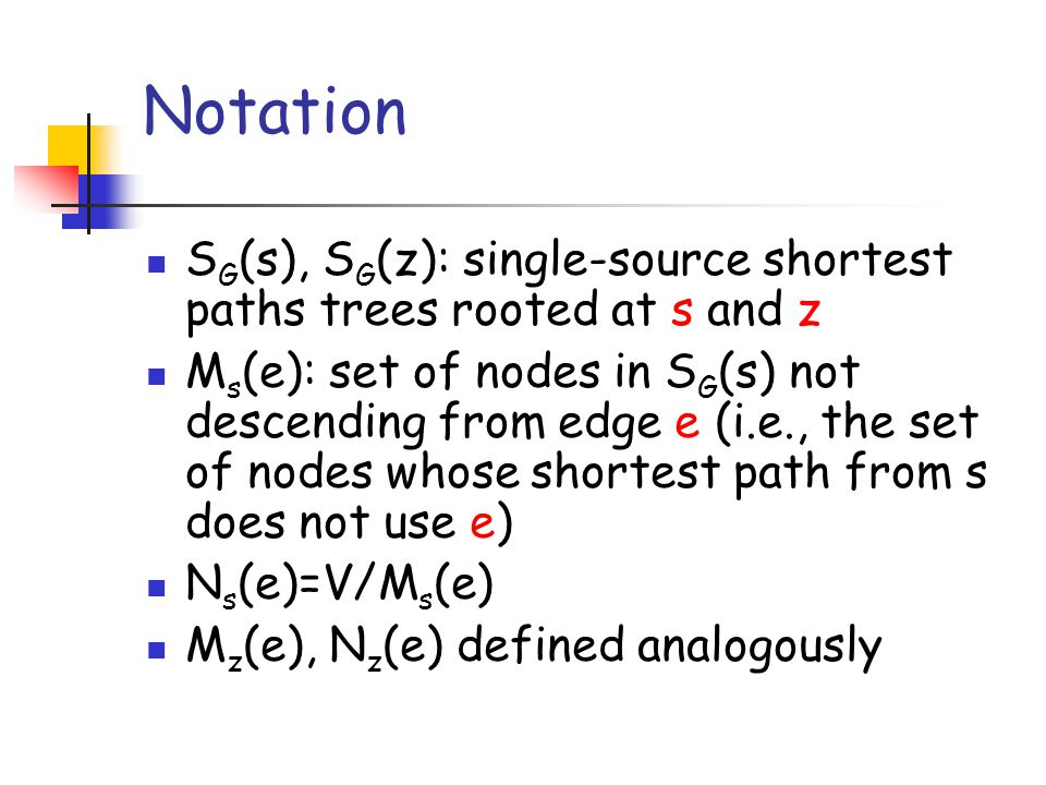 A more efficient solution: the Malik, Mittal and Gupta algorithm (1989) MMG have solved in O(m+n log n) time the following related problem: given a SP P G (s,z), what is its most vital edge, namely an edge whose removal induces the worst (i.e., longest) best replacement path between s and z.