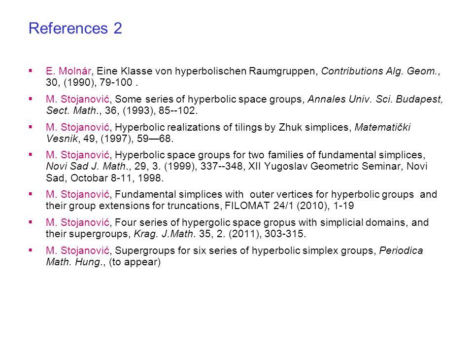  E. Molnár, Eine Klasse von hyperbolischen Raumgruppen, Contributions Alg.