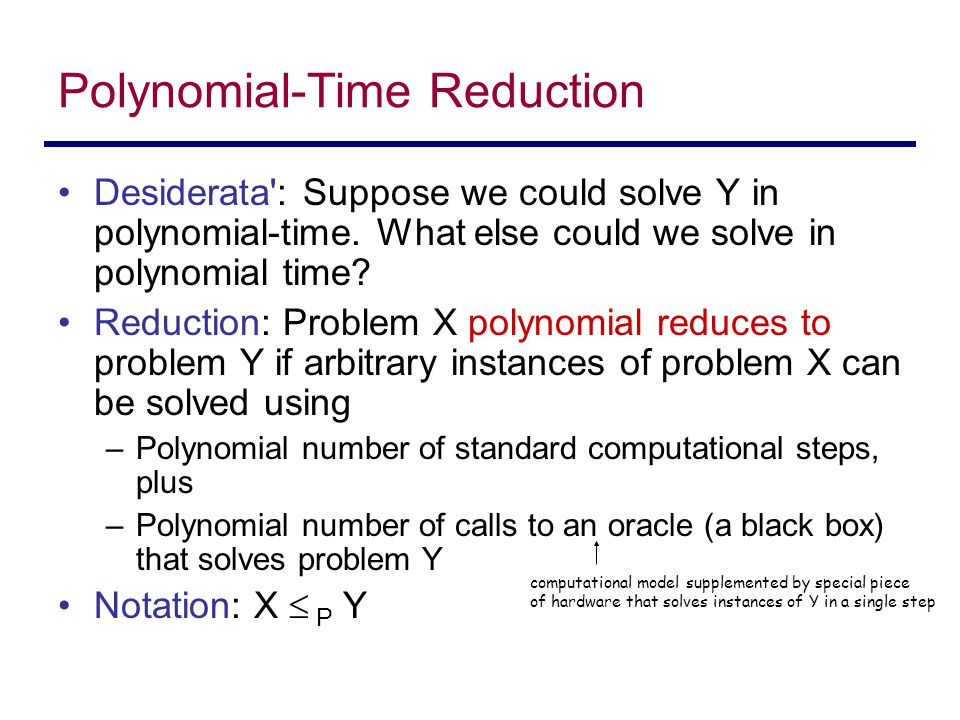 Polynomial-Time Reduction Desiderata : Suppose we could solve Y in polynomial-time.