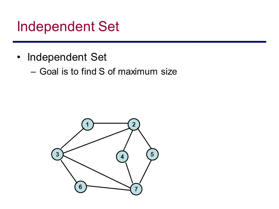 Independent Set –Goal is to find S of maximum size 1 3 2 6 7 4 5
