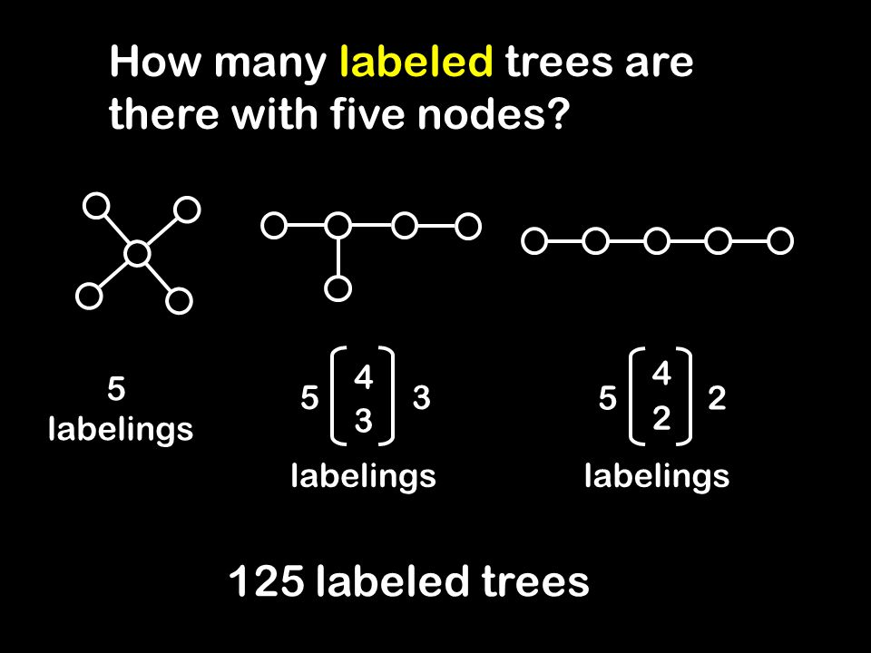 How many labeled trees are there with five nodes.