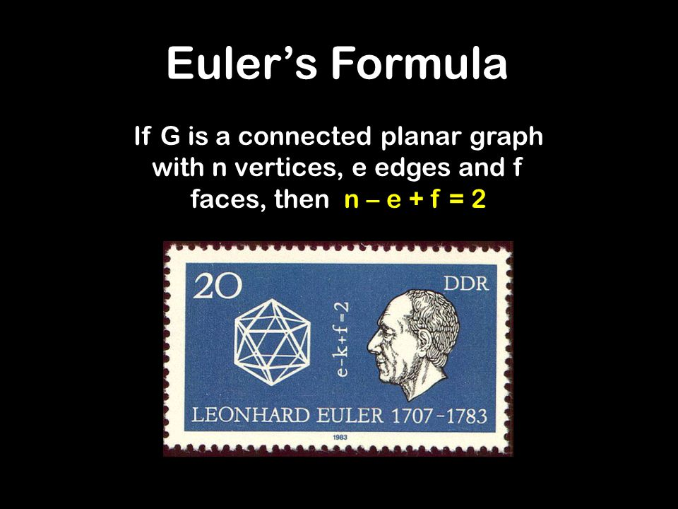 Euler's Formula If G is a connected planar graph with n vertices, e edges and f faces, then n – e + f = 2