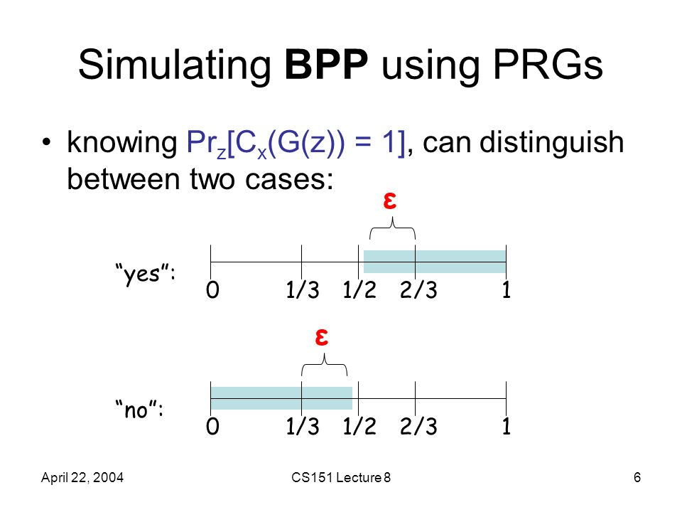April 22, 2004CS151 Lecture 86 Simulating BPP using PRGs knowing Pr z [C x (G(z)) = 1], can distinguish between two cases: 01/31/22/31 yes : ε 01/31/22/31 no : ε