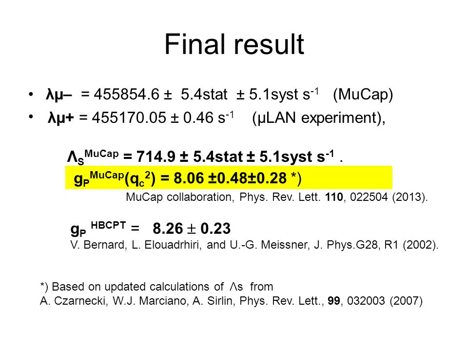 Final result λµ– = 455854.6 ± 5.4stat ± 5.1syst s -1 (MuCap) λµ+ = 455170.05 ± 0.46 s -1 (μLAN experiment), Λ S MuCap = 714.9 ± 5.4stat ± 5.1syst s -1