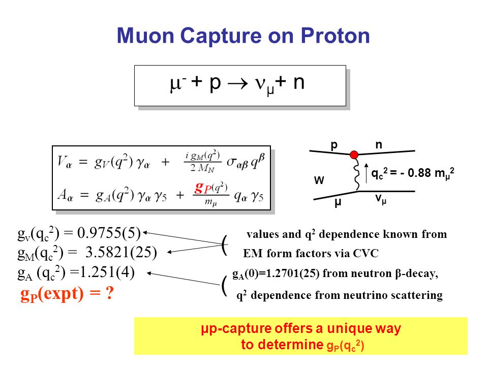  - + p  µ + n  - + p  µ + n Muon Capture on Proton µ νµνµ pn W q c 2 = - 0.88 m µ 2 g v (q c 2 ) = 0.9755(5) values and q 2 dependence known from g M (q c 2 ) = 3.5821(25) EM form factors via CVC g A (q c 2 ) =1.251(4) g A (0)=1.2701(25) from neutron β-decay, g P (expt) = .