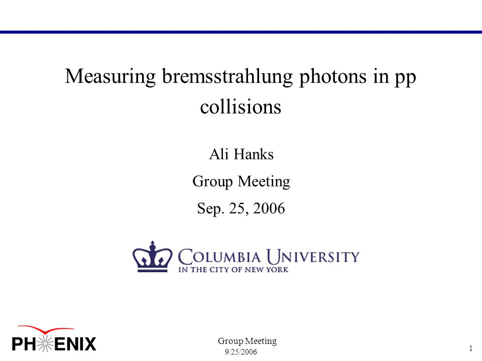 9/25/2006 Group Meeting 2 Outline/Methodology Method: select  dir associated with high p T hadron using correlations 1 st Step: construct hadron-  inc correlation functions 2 nd Step: remove background from decay photons –construct hadron-  tagged correlations from  0 decays –estimate tagging efficiency as a function of  and p T using fastmc –use corrected hadron-   0 to estimate the total hadron-  dec contribution 3 rd Step: calculate  frag yield from resulting h-  dir correlation