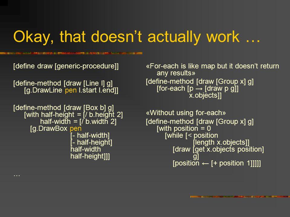 Okay, that doesn't actually work … [define draw [generic-procedure]] [define-method [draw [Line l] g] [g.DrawLine pen l.start l.end]] [define-method [