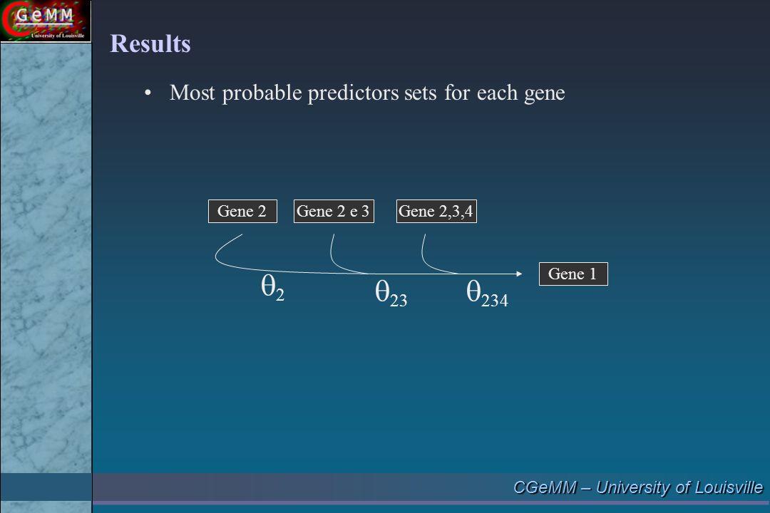 CGeMM – University of Louisville Gene 2 Gene 1 Gene 2 e 3Gene 2,3,4 22  23  234 Results Most probable predictors sets for each gene