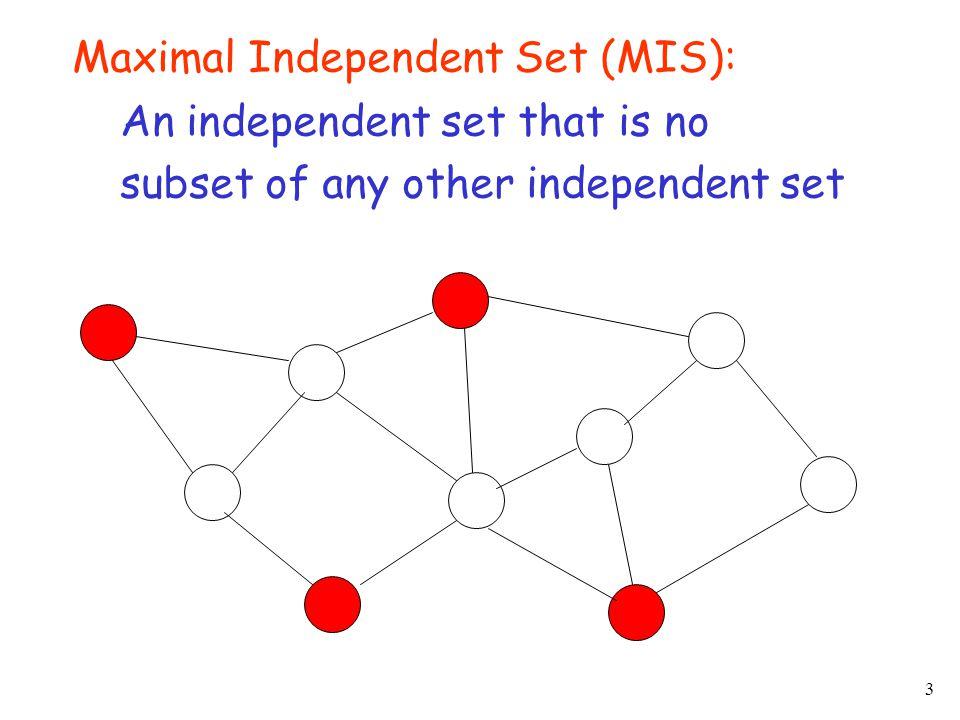 4 Maximum Independent Set: A MIS of maximum size A graph G……a MIS of G… …a MIS of max size