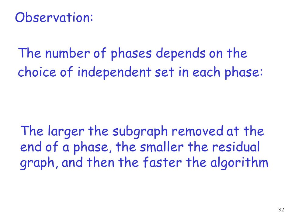 32 The number of phases depends on the choice of independent set in each phase: The larger the subgraph removed at the end of a phase, the smaller the residual graph, and then the faster the algorithm Observation: