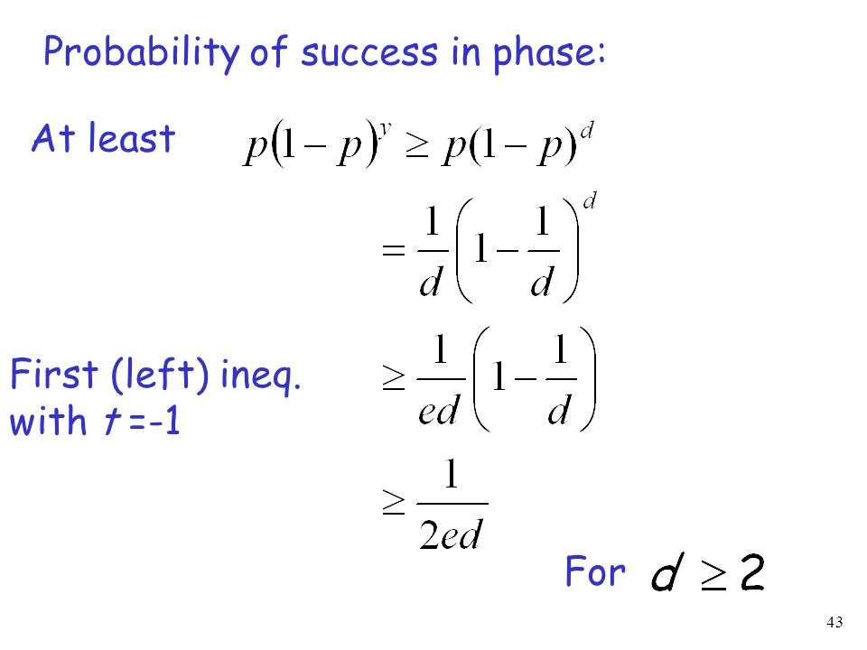 43 Probability of success in phase: At least For First (left) ineq. with t =-1