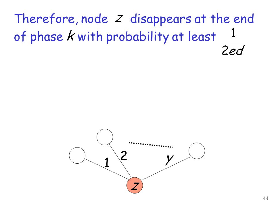 44 Therefore, node disappears at the end of phase with probability at least 1 2