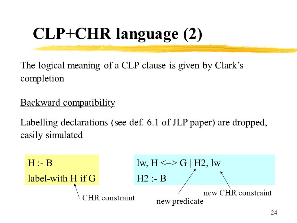 24 CLP+CHR language (2) The logical meaning of a CLP clause is given by Clark's completion Backward compatibility Labelling declarations (see def.