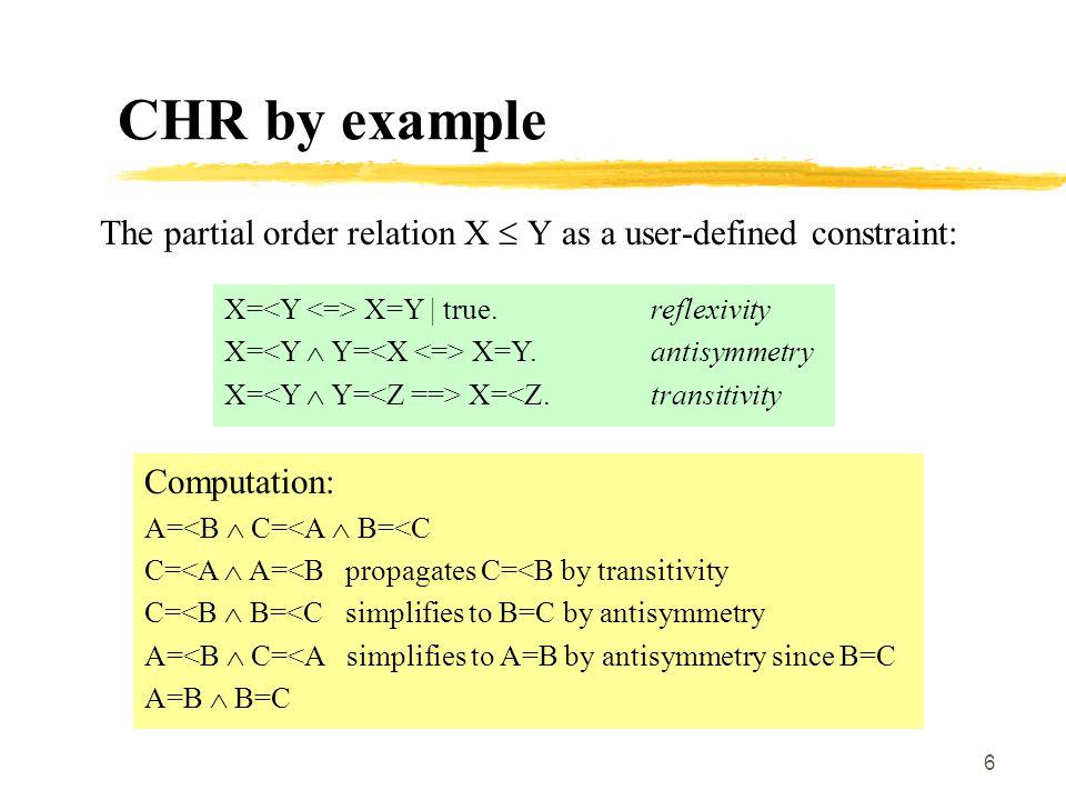 7 CHR syntax A CHR-program is a finite set of CHR-rules.