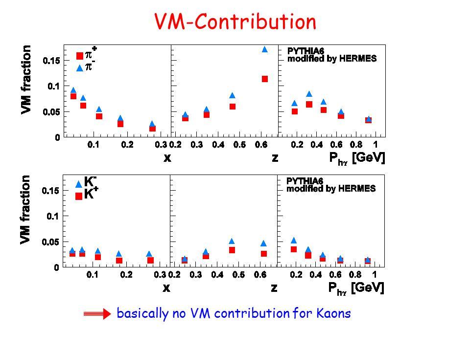 VM-Contribution basically no VM contribution for Kaons