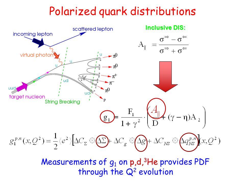 Polarized quark distributions Inclusive DIS: p,d, 3 He Measurements of g 1 on p,d, 3 He provides PDF through the Q 2 evolution