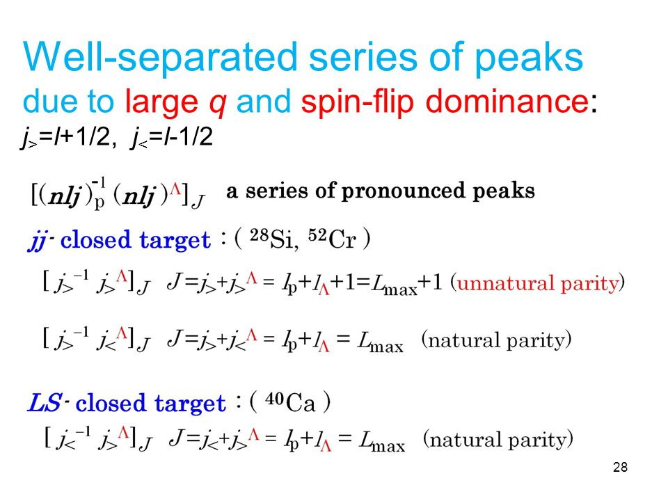 Well-separated series of peaks due to large q and spin-flip dominance: j > =l+1/2, j < =l-1/2 28