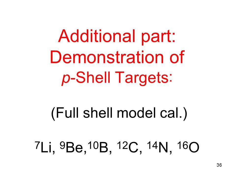 Additional part: Demonstration of p-Shell Targets : (Full shell model cal.) 7 Li, 9 Be, 10 B, 12 C, 14 N, 16 O 36