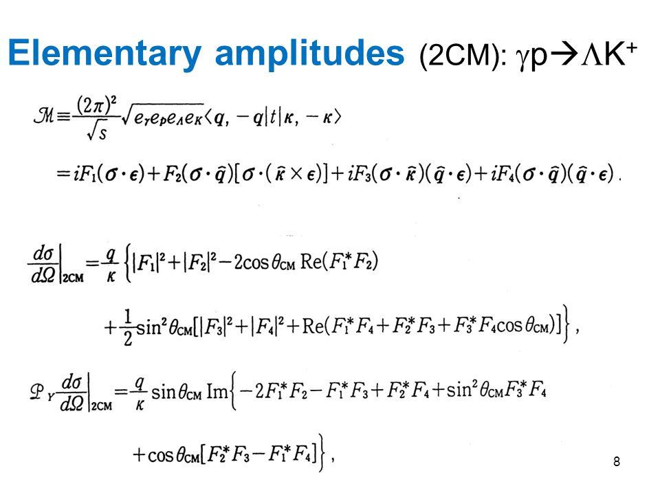 Elementary amplitudes (2CM):  p   K + 8