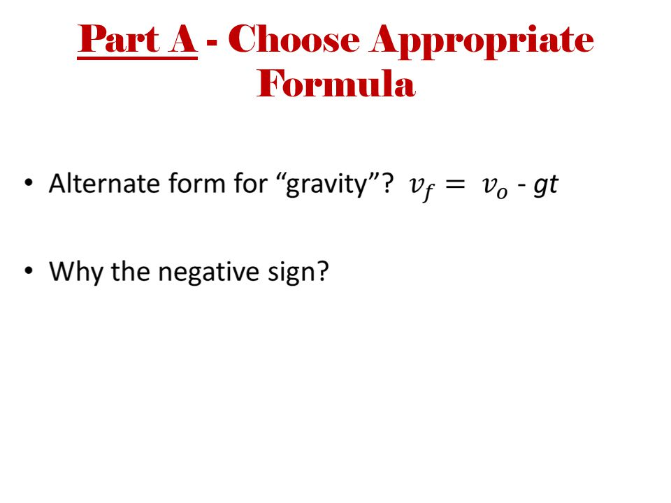 Part A - Choose Appropriate Formula