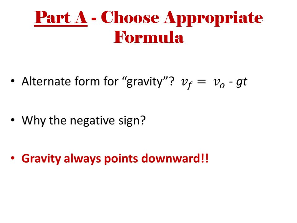 Part A - Choose Appropriate Formula