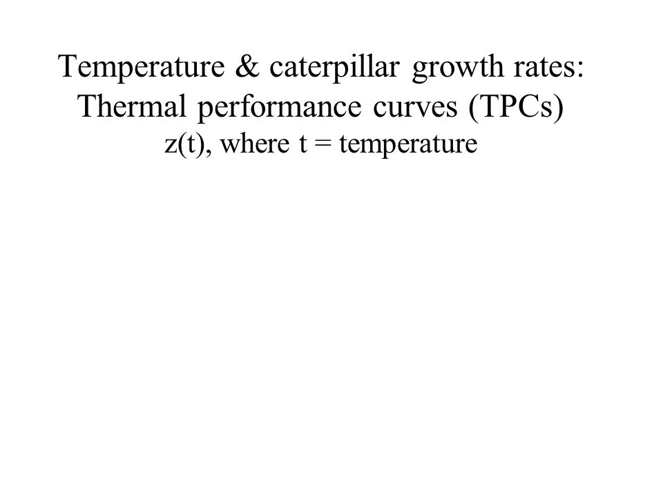 Temperature & caterpillar growth rates: Thermal performance curves (TPCs) z(t), where t = temperature