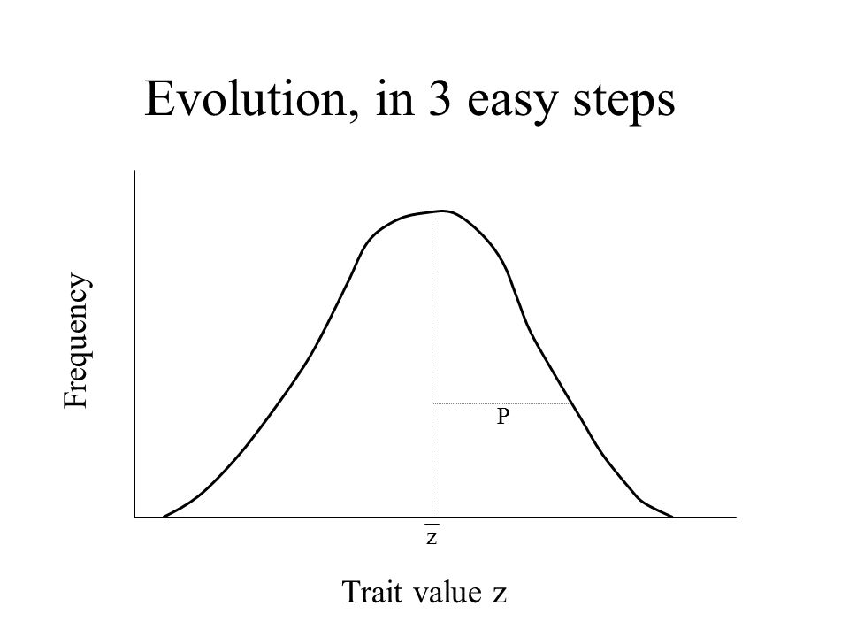 Evolution, in 3 easy steps P Trait value z Frequency z